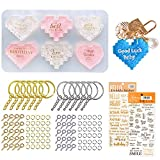 Heart Keychain Resin Molds Kit,1pcs Pixel Heart Mold+2 pcs Gold Letter Stickers+20pcs Key Ring+100pcs Screw Eye Pins + 100pcs O Ring for Resin Keychain, Pendant, Necklace Making