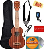 Kala KA-15S Satin Mahogany Soprano Ukulele Bundle with Gig Bag, Tuner, Strap, Fender Play, Austin Bazaar Instructional DVD, and Polishing Cloth