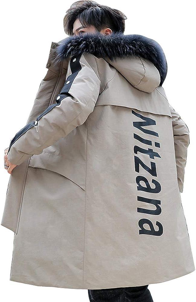 Down Jacket Winter Men's Jacket, Medium Length, Hooded Thicken Winter Clothing, Padding: Imitation Silk Cotton (Size: M, L, XL, 2XL, 3XL) Beige