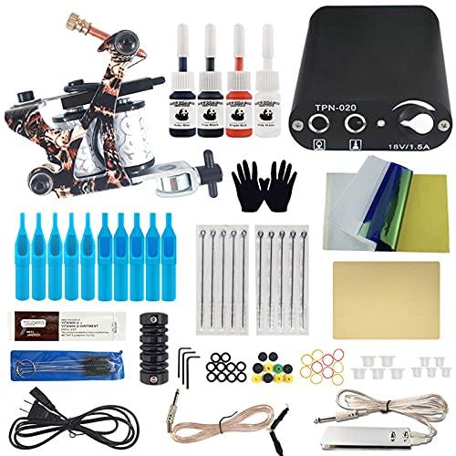 ZeLight Kit de Tatuajes Completos para Pricipiantes,1 pro Maquina de Tatuaje con Funte de Alimentacion EU Plug Agujas Tatuaje AcceroriosTK001