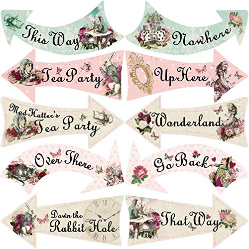 Truly Alice Arrow Hanging Signs Cutouts for Tea Party Decoration 10 Pcs