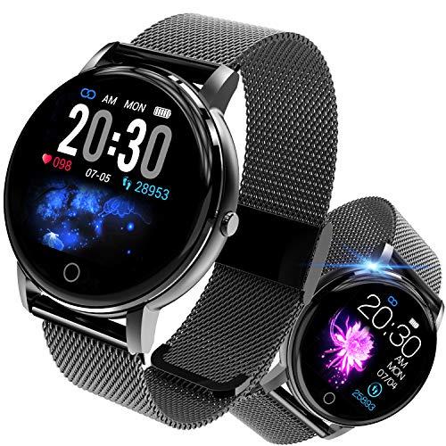 jpantech Smartwatch Fitness Armband Tracker Voller Wasserdicht Intelligente Aktivitäts Uhr Sportuhr, Damen Herren Pulsmesser Schlafmonitor SMS Beachten Armbanduhr für Android iOS (Schwarz)