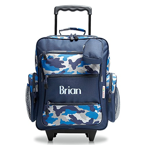 Personalized Rolling Luggage for Kids – Blue Camo Design, 5' x 12' x 20'H, By Lillian Vernon