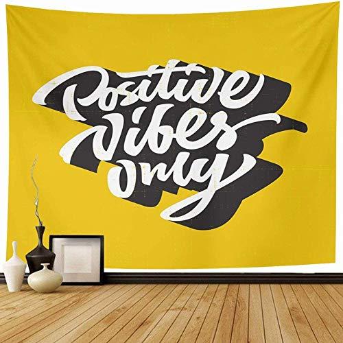 Tapiz Retro amarillo creativo positivo vibraciones solo mano camiseta letras cita Vintage Hipster frase auténtica decoración del hogar tapices