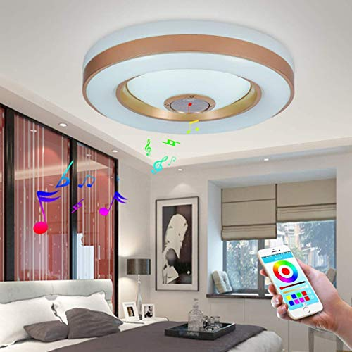 26 W LED ceiling light with integrated bluetooth music speaker and RGB color changing ceiling lamp, modern circular lighting for bedroom, restaurant, living room, children's room