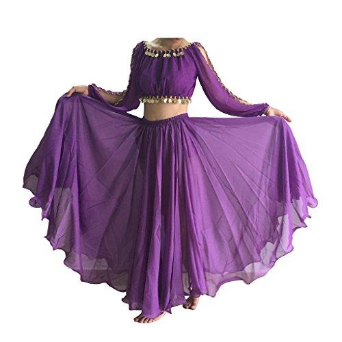 BestDance Ganzkreis-Rock, Bauchtanz-Kostüme, Maxi-Kleid, langer Rock, Kleid Gr. One size, violett