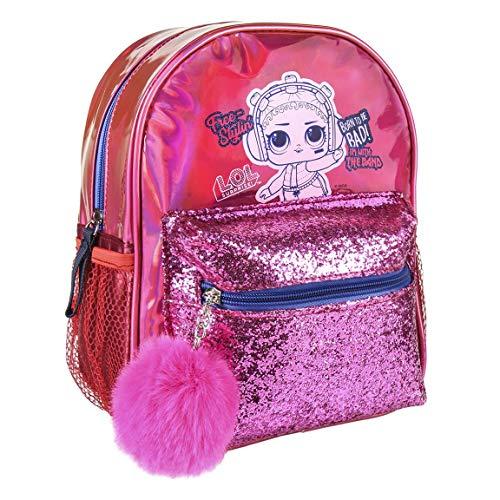 L O L Surprise! | Mochila con Pompones Holográfica Glitter | Bolsa para Niñas | ¡Diseño único y Exclusivo Ideal para Vacaciones Y Regreso A La Escuela! |