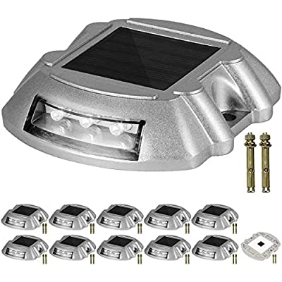 Happybuy Driveway Lights 12-Pack, Solar Driveway Lights with Switch Button, Solar Deck Lights Waterproof LED Bright White, Wireless Dock Lights 6 LEDs for Path Warning Garden Walkway Sidewalk Steps