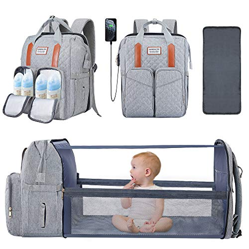 3 in 1 Baby Diaper Bag with Changing Station Backpack Foldable Diaper Bag...