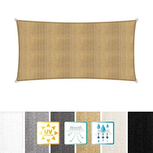 Lumaland toldo Vela de Sombra 100% Polietileno de Alta Densidad Filtro UV Incl Cuerdas Nylon 3 x 5