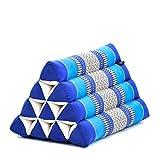 Leewadee Almohada Triangular tailandesa – Cojín de kapok sin Tratar, Respaldo cómodo para Leer, Almohadilla Hecha a Mano, 50 x 33 x 33 cm, Azul