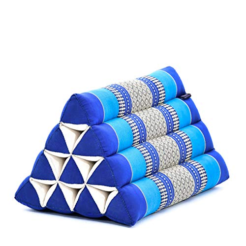 Leewadee Almohada Triangular tailandesa – Cojín de kapok ecológico, Respaldo cómodo para Leer, Almohadilla Hecha a Mano, 50 x 33 x 33 cm, Azul