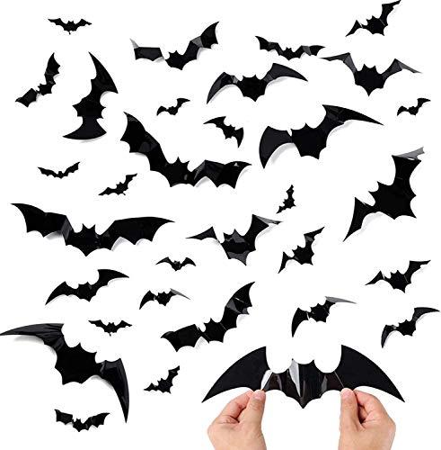cococity Decoración 3D de Halloween murciélagos, pegatinas decorativas de PVC, alas plegables, para decoración de Halloween y ventanas, decoración de pared