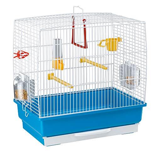 Ferplast Jaula Rectangular para pequeños pájaros exóticos y Canarios Rekord 2 con Accesorios y comederos giratorios, Alambre Pintado Blanco y cubeta de plástico Azul Celeste, 39 x 25 x h 41 cm ✅
