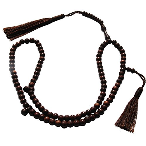 Dense Tamarind Tree Tasbih - Small 6mm 99-Bead Prayer Beads - Worry Beads with 2 Beuitiful Tassels by Exotic Beads