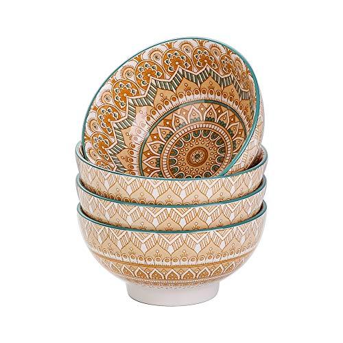 vancasso Serie Mandala Tazones para Cereales Tazones Desayuno 4 Piezas Cuencos de Porcelana para Sopa/Ramen/Consome 650ML, 15cm Pintado a Mano Amarillo