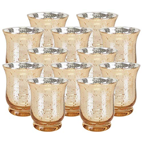 Just Artifacts Mercury Glass Hurricane Votive Candle Holder 3.5-Inch (12pcs, Speckled Gold) - Mercury Glass Votive Tealight Candle Holders for Weddings, Parties and Home Décor