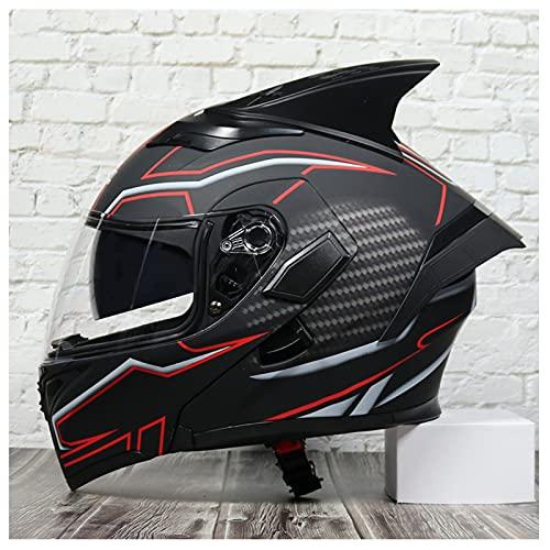 Casco de motocicleta de cara completa modular integrado con Bluetooth con doble visera Casco de cara completa adultos hombres y mujeres Aprobado ECE con micrófono,7,M 57~58cm