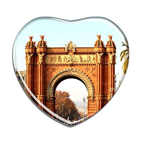Hqiyaols Souvenir España Arco del Triunfo Barcelona Refrigerador Imán Forma de Corazon Cristal Pegatina Nevera Azulejo Viajes Regalo Coleccionables Recuerdo