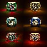 SET de 6 unidades Farol de mosaico oriental Ajan 9 cm Variedad de colores | Portavelas de cristal oriental Oriental | Faroles marroquíes de cristal como decoración | 6 unidades