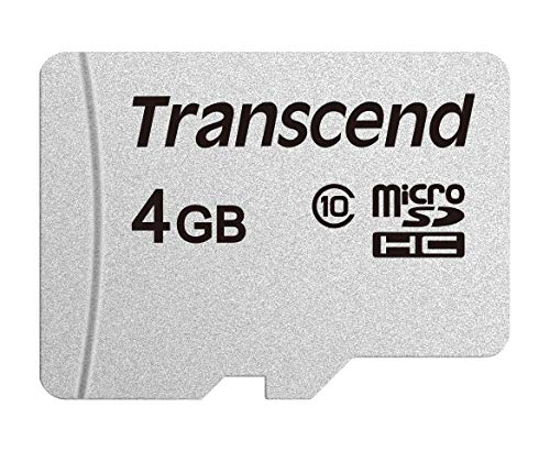 Transcend TS4GUSD300S Scheda di Memoria MicroSDHC 300S, 4 GB, Senza adattatore, Imballaggio Standard, Grigio