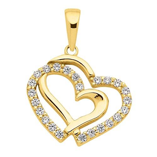 Herz Anhänger Kettenanhänger mit Zirkonia aus 333 Echt Gold 8 Karat