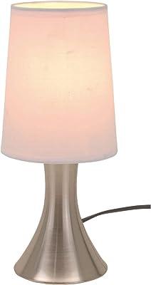Lampe à poser avec variateur d'intensité tactile 3niveaux de luminosité Pied en acier inoxydable et abat-jour blanc