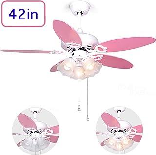 Ventilador De Techo Chica Rosa,lámpara De Ventilador Led para Habitación Infantil De 106cm,motora Reversibles / 5 Cuchillas De Madera,Montaje De La Varilla