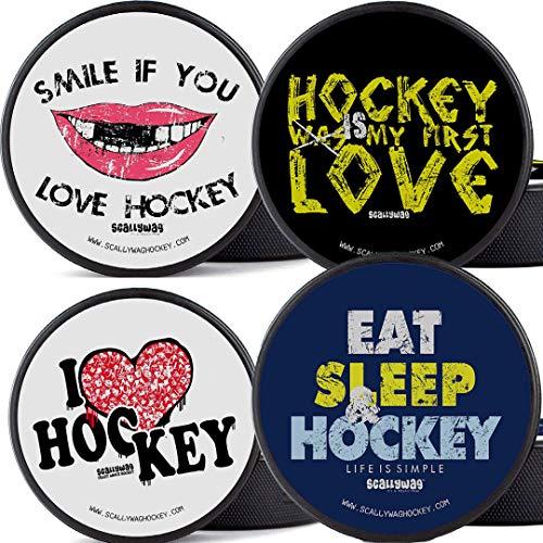 Scallywag® Geschenk für Eishockey Fans & Eishockeyspieler Der Vierer Puck - original Eishockey Pucks (Spielpuck, Trainingspuck, Sammler Pucks - das perfekte Eishockey Geschenk)