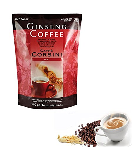 Caffè Ginseng Solubile - 20 Monodosi da 20 gr - Dolce Gusto con Formato Polvere Facile da Preparare nei Luoghi di Lavoro o Studio