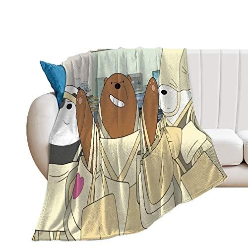 Manta ultra suave y cálida para acampar, diseño de osos desnudos, oso oso de hielo, oso oso de hielo, Crazy Shopping en el centro comercial, manta multiuso, 70 x 80 pulgadas, 180 x 200 cm