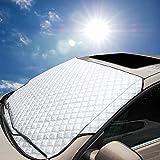 Ariymap Autoabdeckung Windschutzscheibe Sonnenschutz Für Autos | Magnetabdeckung Für Windschutzscheibe | Autoabdeckung Für Schnee (Silber, 147 * 100cm)