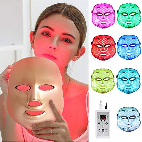Light Therapy LED Face Mâsk - 7 LED Skin Care for Face, LED Light Photon Face Mâsk For Skin Rejuvenation Collagen Tighten and Lift Skin Anti Aging Wrinkles Daily Facial Skin Care【NEW Upgraded】