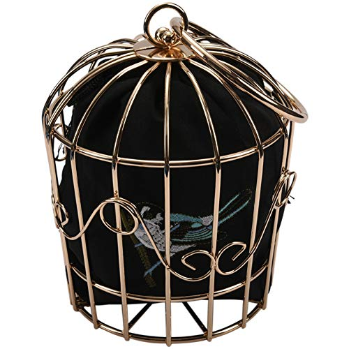 Nrpfell Personality Bird Cage Women Handbag Tote Metal Cage Girls Top-Handle Bags Coin Purse Fashion Party Pouch Tassel Clutch Black
