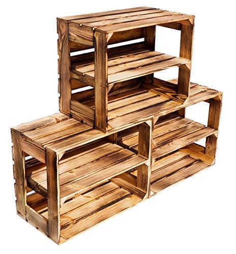 Kistenkolli Altes Land Gerda Lot de 3 caisses en bois flammé avec planche intermédiaire/étagère centrale, étagère à chaussures, livres, caisses à fruits