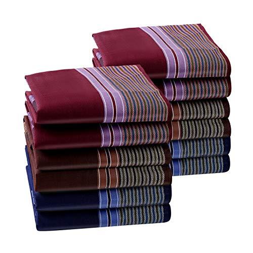 HOULIFE Herren Taschentücher aus Reiner Baumwolle 43x43cm 3 Farben für Alltagsgebrauch 6/12 Stücke Weihnachtsgeschenke (43x43cm, Gemischt 1-12 Stück)