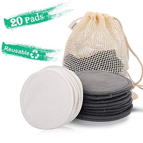 Winload Discos Desmaquillantes Reutilizables, 20 pieza Almohadillas Desmaquillantes Lavables, Desmaquillante Facial Hechos en Fibra de Bambú de Algodón, con Bolsa de Lavandería