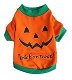Scheppend Pet Puppy Halloween Party Pumpkin Costume Funny Dog Cat T-Shirts Apparel,S