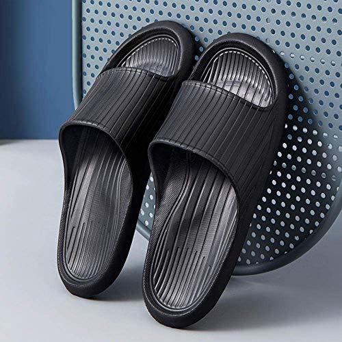 CCJW Slide Unisex Sandalias de Punta Abierta, Suela de Uso doméstico-Soft Zapatillas de Silencio Antideslizantes y Desodorante Zapatillas de baño-40-41_Black, la Aptitud de Las Sandalias kshu