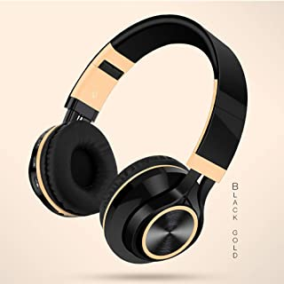 BUNGER Wireless Bluetooth Foldable Headphones Hi-Fi Stereo Headset With Mic SD/TF Card gold
