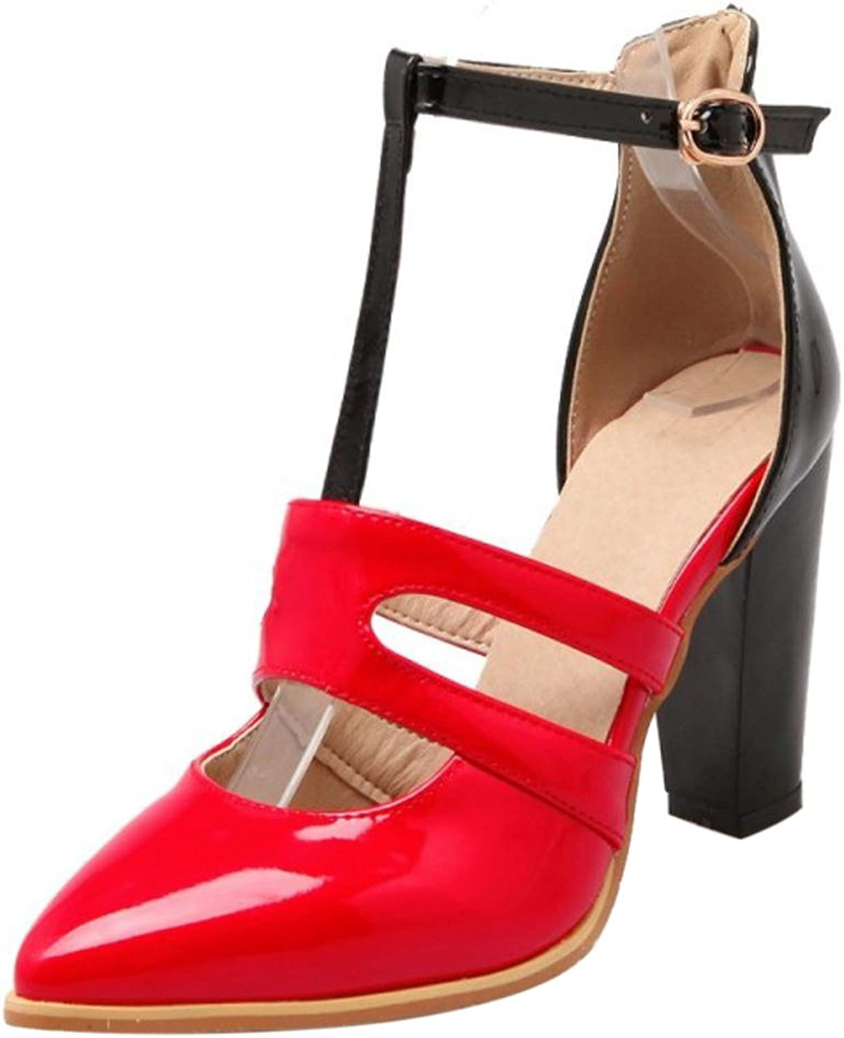 FizaiZifai Women Strap Block Heel Pumps