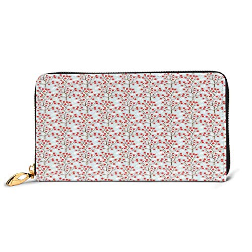 Women's Long Leather Card Holder Purse Zipper Buckle Elegant Clutch Wallet, Fall Season Berries On A Branch Sketch Style Illustration of Nature,Sleek and Slim Travel Purse