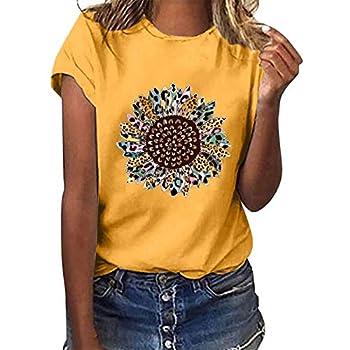 YAnGSale Top Women T-Shirt Sunflower Print Tee Tops Short Sleeve Shirts Plus Size Blouse Comfy Tunics Vest Streetwear  A -Yellow L
