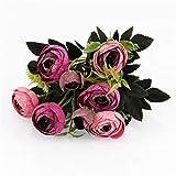 Boburyl 9-tête Artificielle Rose Bud Bouquet Simulation Rose Fleur Décoration Florale Décoration de Mariage Faux Fleurs, vin Rouge