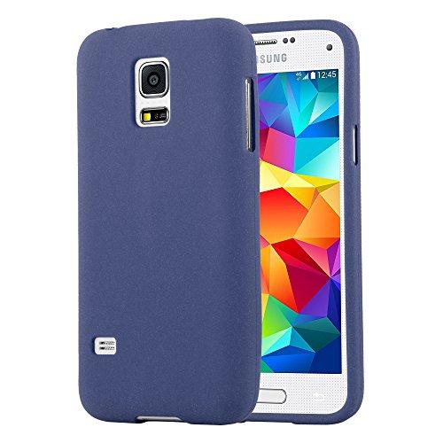 Cadorabo Hülle für Samsung Galaxy S5 Mini / S5 Mini DUOS in Frost DUNKEL BLAU - Handyhülle aus flexiblem TPU Silikon - Silikonhülle Schutzhülle Ultra Slim Soft Back Cover Case Bumper
