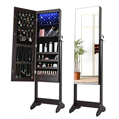 LVSOMT Armoire de rangement de bijoux à 8 LED avec miroir de corps pleine longueur, rangement mural / porte et armoire à bijoux sur pied, verrouillable avec 2 tiroirs, 3 angles réglables