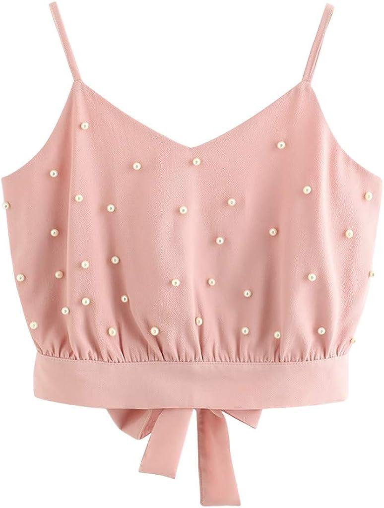 Fastbot women's Chiffon Vest Cute Cami Bow Knot Camisole Tank Crop Tops Sleeveless Tunic Summer Ruffle Blouse Shirt Pink
