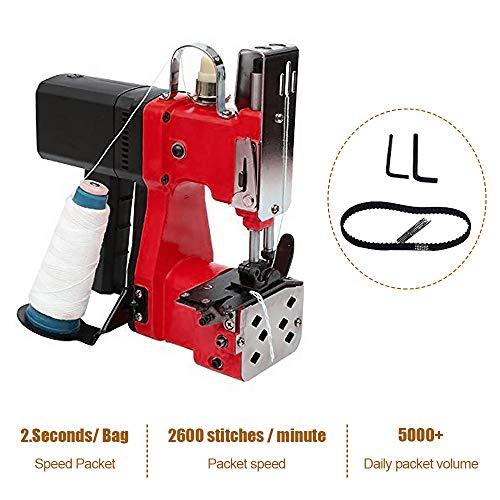 HUKOER Máquina de cierre de bolsas rojas Máquina de coser portátil Máquina cosedora de bolsas Bolsa de embalaje eléctrica Sellado de costura