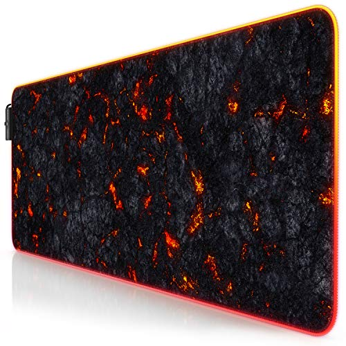 TITANWOLF XXL RGB Gaming Mouse Mat Pad - 800x300 mm - XXXL Extended Large LED Mousepad - 11 Multi colors and effect modes - Non-Slip Rubber Base - Computer Keyboard Mice Mat for Macbook PC - Black