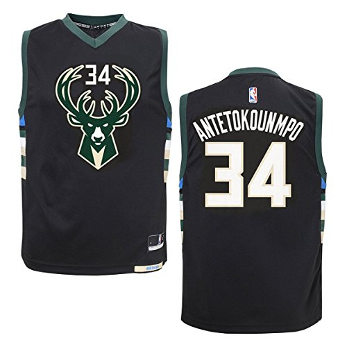 Outerstuff Giannis Antetokounmpo Milwaukee Bucks #34 Black Youth Alternate Replica Jersey (Medium 10/12)